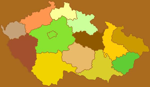 Mapa ČR - Kraje