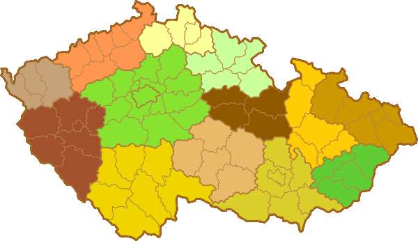 Mapa ČR - Okresy
